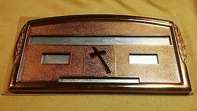 Metal Laurel Adjustable Letter Grave Marker, Cross. Name and date included.
