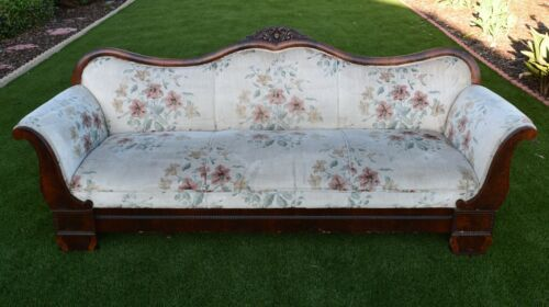 Antique Victorian Couch Sofa 7-ft Carved Wood Upholstered