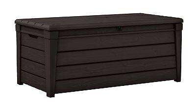 Keter 120 Gallon Brightwood Deck Box Outdoor Patio Cushion Storage