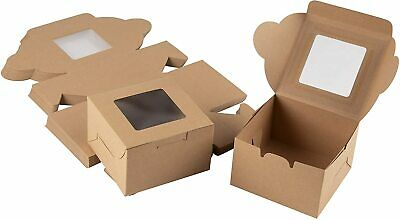 Kraft Paper Bakery Boxes (25-Pack) - Pastry Holder with Clear Display Window
