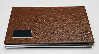 Business Name Card Holder Steel Leather Wrap Case - Brown 3 Pack