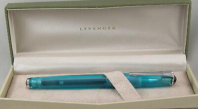 Levenger True Writer Blue Bahama Transparent Rollerball Pen - New In Box