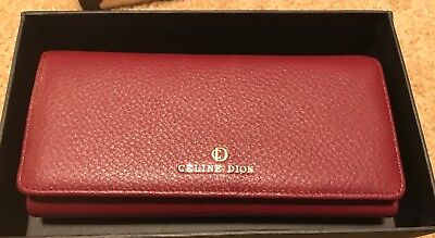 Celine Dion Adagio Leather Crossbody Wallet Clutch Dark Red Brand New Never Used