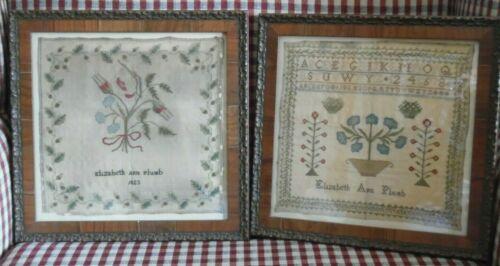 Two ANTIQUE Samplers by Elizabeth Ann Plumb 1823