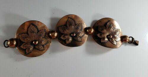 Vintage Copper Maple Leaf Book Chain STATEMENT Bracelet BOLD UNIQUE