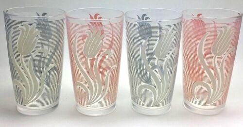Vintage Set Of 4 Hazel Atlas Drinking Glasses Pink White Gray Tulips Flowers