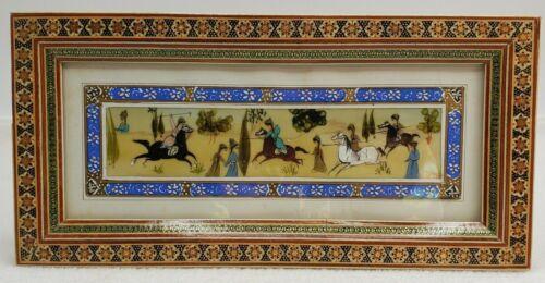 Persian Hand Painted Battle Scene on Bone In Wooden Khatam Inlay Frame Vintage