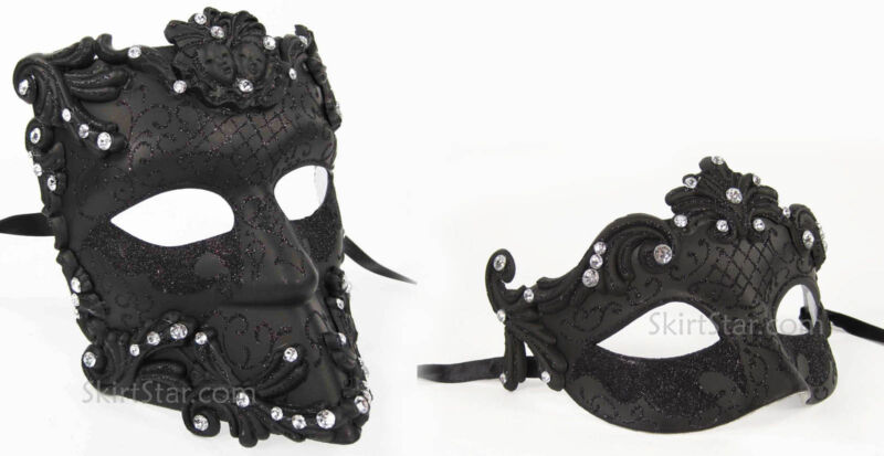 SET of VENETIAN half MASK men women masquerade Costume Black Crystals Glitter