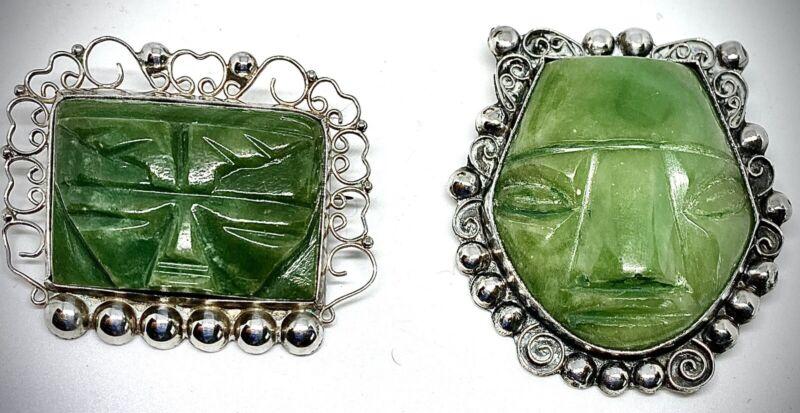LARGE STERLING SILVERJADE GREEN ONYXMEXICAN MAYAN AZTEC TRIBALFACE MASKS