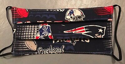 New England Patriots Face Mask 100% Cotton  w/ Elastic  Retro Look 2-sided