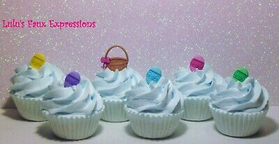 Faux Mini Cupcakes Fake Food Easter Basket W Egg Blue 6