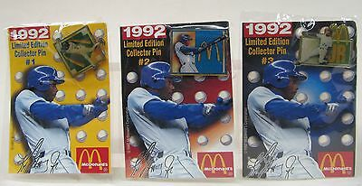 1992 GRIFFEY JR. McDonalds tack Pins & Cards set of 3 Mint in sealed Packages