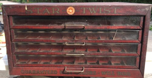 Antique Vintage Star Twist 4 Drawer Advertising Metal Glass Fronts Spool Cabinet