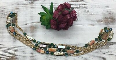 Vintage Flapper Length Mother of Pearl Teal Aurora Borealis Gold Swirl Necklace