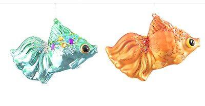 Darice Set of 2 Tropical Fish Nautical Blown Glass Christmas Ornaments ()