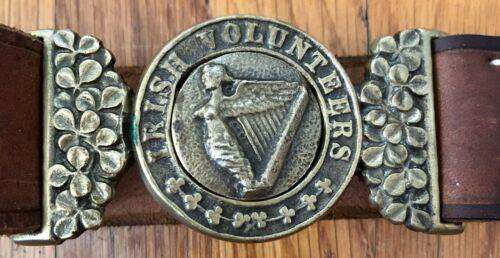 CIVIL WAR REENACTMENT IRISH VOLUNTEERS LEATHER BELT W/ BRASS BUCKLE