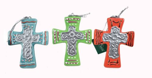 Cross ornaments set of 3 Southwest Styled Colorful Bright Design