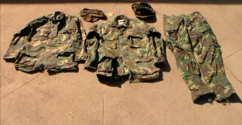 Old Vietnam War to 1980s era US Marine Corps Woodland Camoflague Fatigues USED