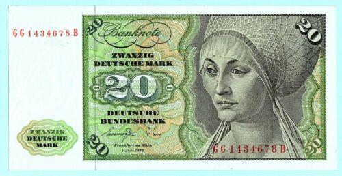 1977 -UNC- GERMAN FEDERAL REPUBLIC 20 DEUTSCHE MARK BANKNOTE