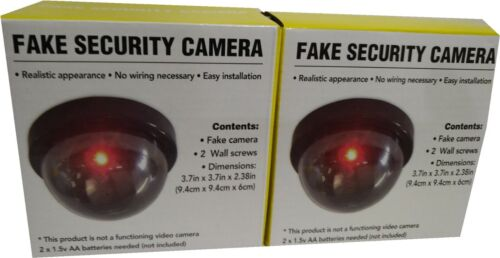 2pcs Dummy Camera Fake Security CCTV Dome Camera with Flashing Red LED Light