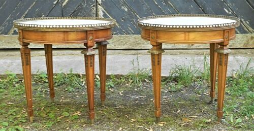 PAIR OF EARLY 20th CENTURY FRENCH LOUIS XVI MARBLE TOP STANDS