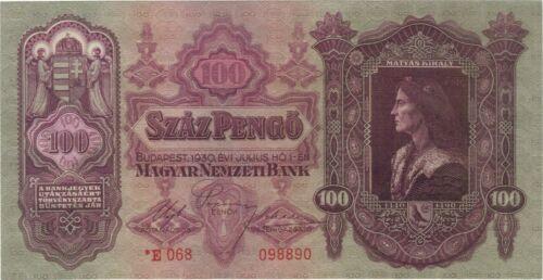1930 100 PENGO HUNGARY CURRENCY BANKNOTE RADAR NOTE MONEY BANK BILL CASH EUROPE