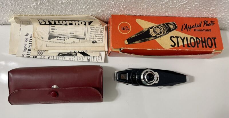 Vintage French Stylophot 16mm Submini Spy Camera w/ Box & Manuals