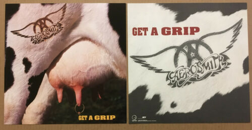 AERSOMITH Rare 1993 SET of 2 DOUBLE SIDED PROMO POSTER FLAT for Get A grip CD