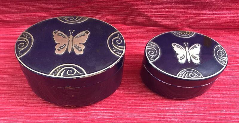 Two Blue Art Deco Lucretia Vanderbilt Butterfly Face Powder Boxes