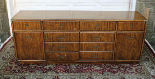 Mcm Mid Century Drexel Accolade 10 Drawer Campaign Credenza Sideboard Dresser