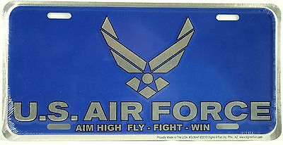 US AIR FORCE LICENSE PLATE Embossed Aluminum NEW Armed Forces USAF Tin Car Truck