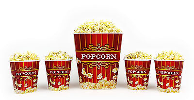 Popcorn Bucket Set - 1 Large & 4 Small Plastic Serving Bowl Tubs](Plastic Popcorn Buckets)
