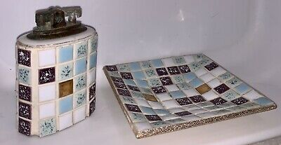 VINTAGE MID-CENTURY RETRO MOSAIC TILE ASHTRAY AND MATCHING LIGHTER JAPAN UNFIRED
