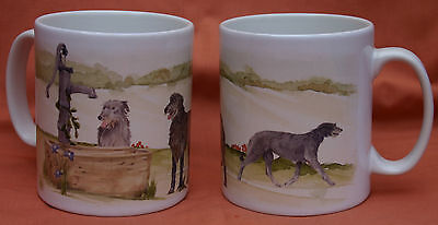 SCOTTISH DEERHOUND DOG MUG Off to the Dog Show painting Sandra Coen artist print