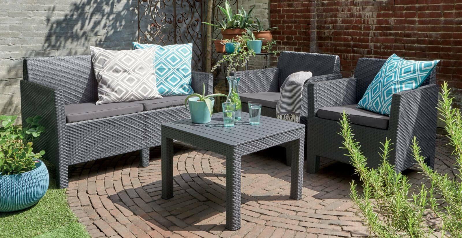 Garden Furniture - KETER 4 PIECE RATTAN GARDEN SET FURNITURE CHAIRS SOFA TABLE PATIO CONSERVATORY
