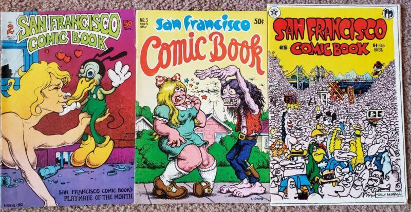 San Francisco Comic Book 2, 3 & 5 (1970) Crumb FINE Free Shipping!