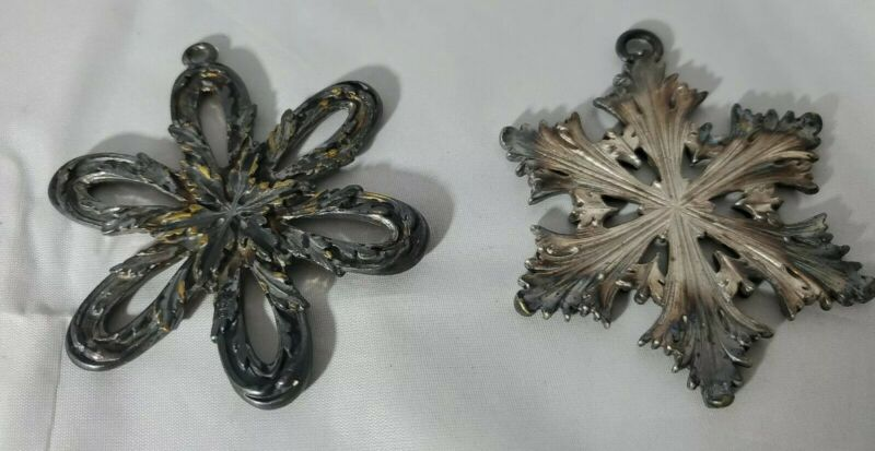 2  Silver Snowflake Silverplate Ornament Christmas1 Reed & Barton 1 Unknown