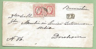 Romania: 1871, 2x5 Bani Red on FLS from Bucharest to Dorohoi, FINE