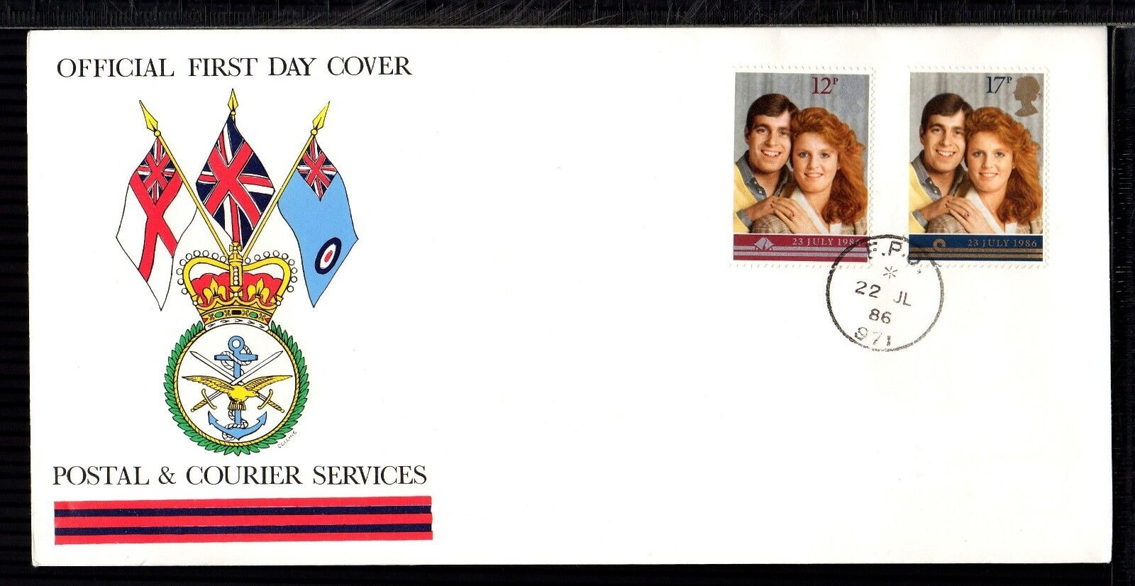 1986 ROYAL WEDDING: Postal and Courier Services Official FDC with FPO 971 CDS