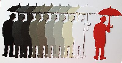 Tim Holltz - Umbrella Man Die-cuts (monochrome With Red)