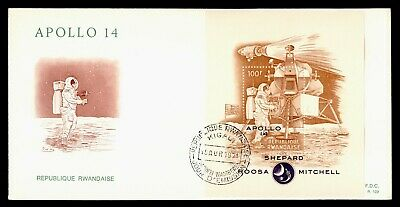DR WHO 1971 RWANDA FDC SPACE APOLLO 14 CACHET S/S  g20526