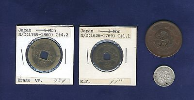 Japan 1 Mon  1626 1769   4 Mon  1769 1860   2 Sen 1877    10 Sen 1877 Coins  Lot