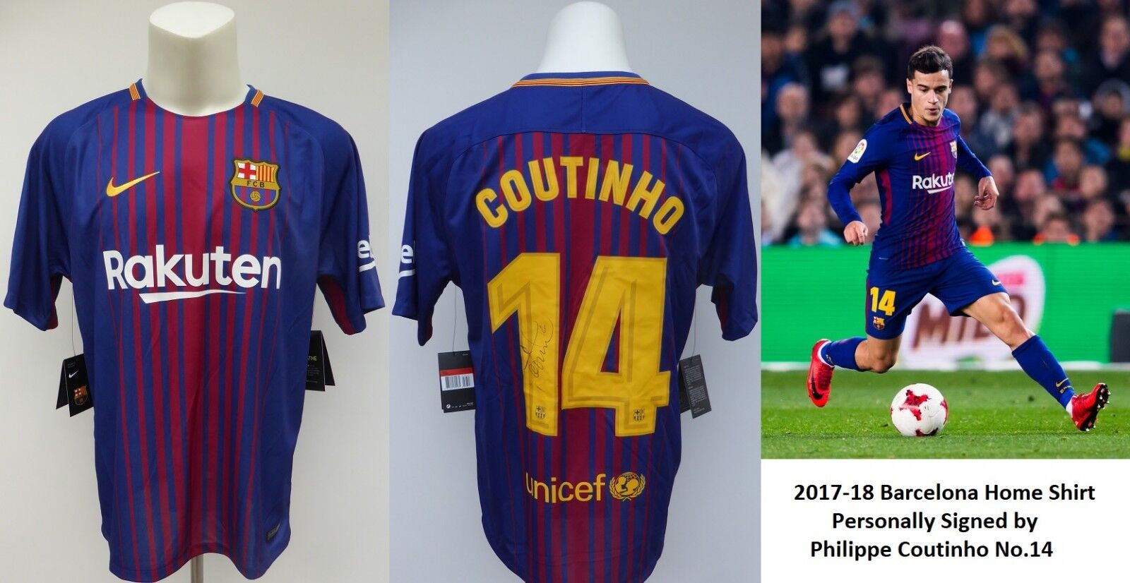 reputable site d23f5 84850 Details about 2017-18 FC Barcelona Champions Home Shirt Signed Philippe  Coutinho No.14 (15213)