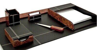 Desk Accessories - Stratford 6-piece Burl Wood Black Leather Desk Set
