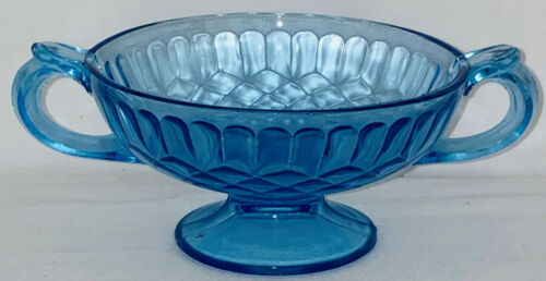 """US Glass AUNT POLLY BLUE 5"""" FOOTED 2 HANDLE CANDY DISH"""