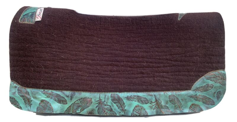 """5 Star Oversized Saddle Pad 34"""" Long 1"""" Thick Spine Relief Dark Chocolate"""