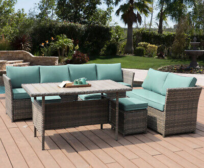 7 PC Patio Rattan Wicker Sofa Set Sectional Green Cushion Furniture Dining Table