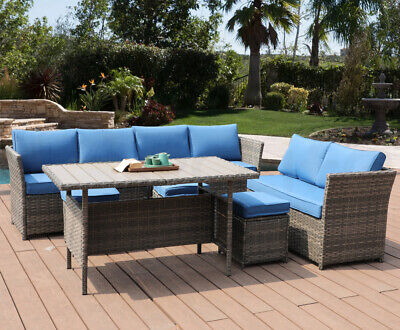 7 PC Patio Rattan Wicker Sofa Set Sectional Blue Cushion Furniture Dining Table