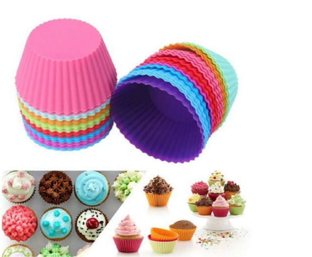 12 pcs Silicone Cake Muffin Chocolate Cupcake Liner Baking Cup Cookie Mold Bakeware