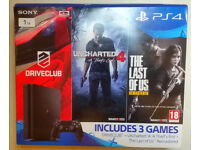 Sony PlayStation 4 1TB Jet Black Console NEW + 4 Games FIFA 14, Uncharted 4, Driverclub